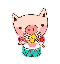 Drumming pig vector