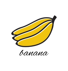 Doodle banana hand-drawn object isolated on white vector