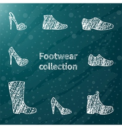 Chalk sketched shoes vector