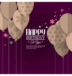 Birthday card with paper balloons vector