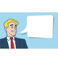 Happy smiling businessman with empty vector