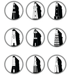 Lighthouses icons in knotted circle in black and vector