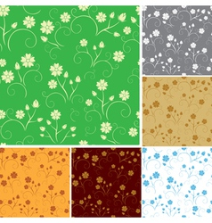 Set - seamless patterns with flowers vector