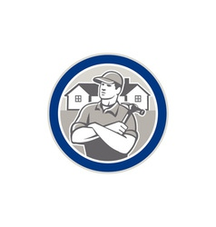 Builder carpenter hammer houses circle retro vector