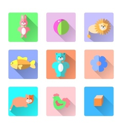 Set of colorful kids toys icons in flat style like vector