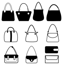 Set of flat woman bags isolated on white vector