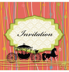 Vintage carriage invitation card vector
