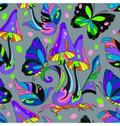Mushroom and butterfly seamless pattern vector