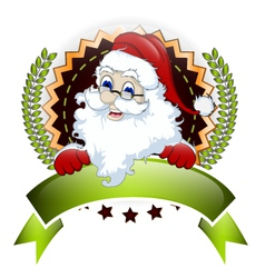 Santa claus with blank sign for you design vector