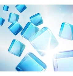 Abstract background falling blue cubes vector