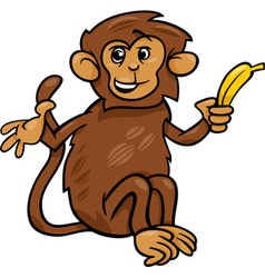 Monkey with banana cartoon vector