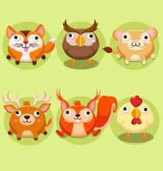 Cute animals icon set vector