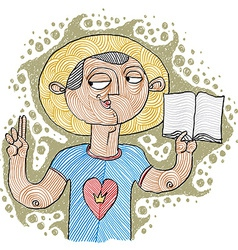 Apostil holding a bible hand-drawn of believer bi vector