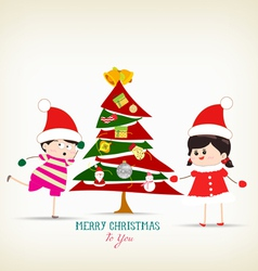 Vintage christmas tree and kids funny vector
