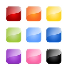 Set of colored glossy blank button vector
