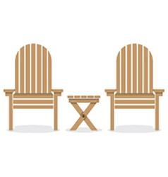 Wooden garden chairs and table vector