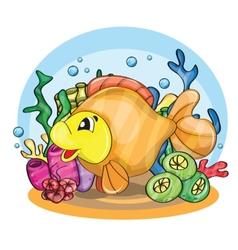 A happy goldfish vector