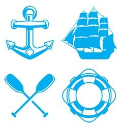 Nautical ocean symbols vector