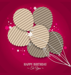 Birthday card with balloons in the style of flat vector