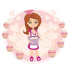 Retro kitchen girl vector