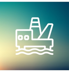 Oil platform thin line icon vector