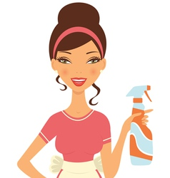 Housewife cleaning vector