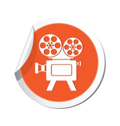 Cinema icon orange sticker vector
