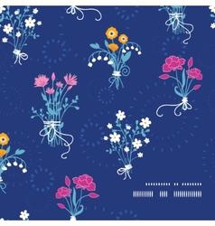 Fresh flower bouquets frame corner pattern vector