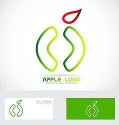 Green apple healthy food logo icon vector