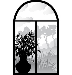 Silhouette of retro window vector
