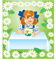 Girl with cup of milk and camomile border vector