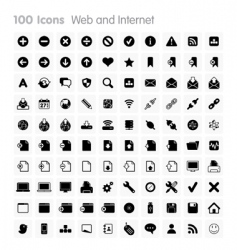 100 icons web and internet vector