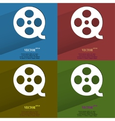 Color set film flat modern web button with long vector
