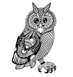 Original artwork of owl ink hand drawing in ethnic vector