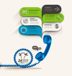 Business service icons and telephone with bubble vector