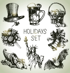 Hand drawn holidays set vector