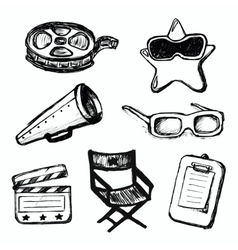 Cinema doodles icons vector