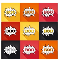 Flat pop art speech bubble - boo vector