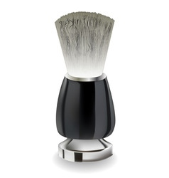 Shaving brush with black handle vector