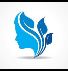 Beautiful woman silhouette with leaf stock vector