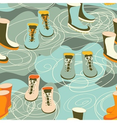Rain boots in a puddle vector