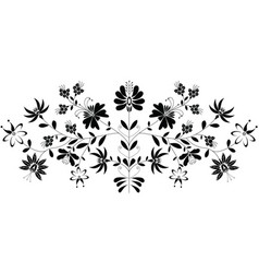 European folk floral pattern in black on white vector
