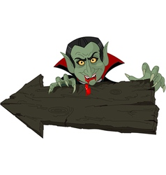 Dracula over halloween arrow vector