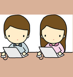 Working boy and girl vector