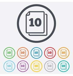 In pack 10 sheets sign icon 10 papers symbol vector