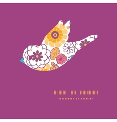 Colorful oriental flowers bird silhouette vector