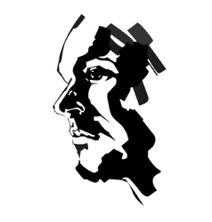 Brush painted portrait of serious man vector