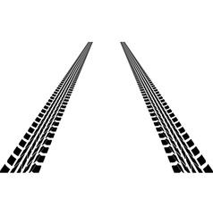 Tire tracks leading far away vector