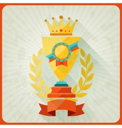 Grunge background with trophies and awards vector