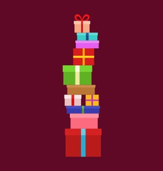 Stack of christmas boxes vector